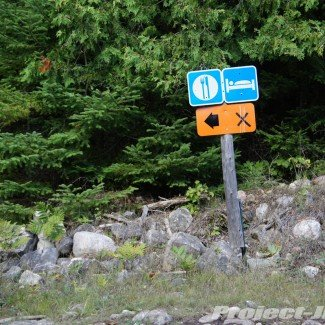 Off Road Trail Sign for Food Lodging on Drummond Island