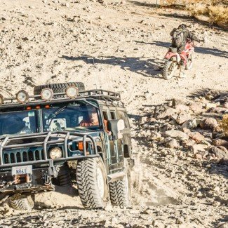 Black H1 Hummer  on Last Chance Canyon 4x4 Trail
