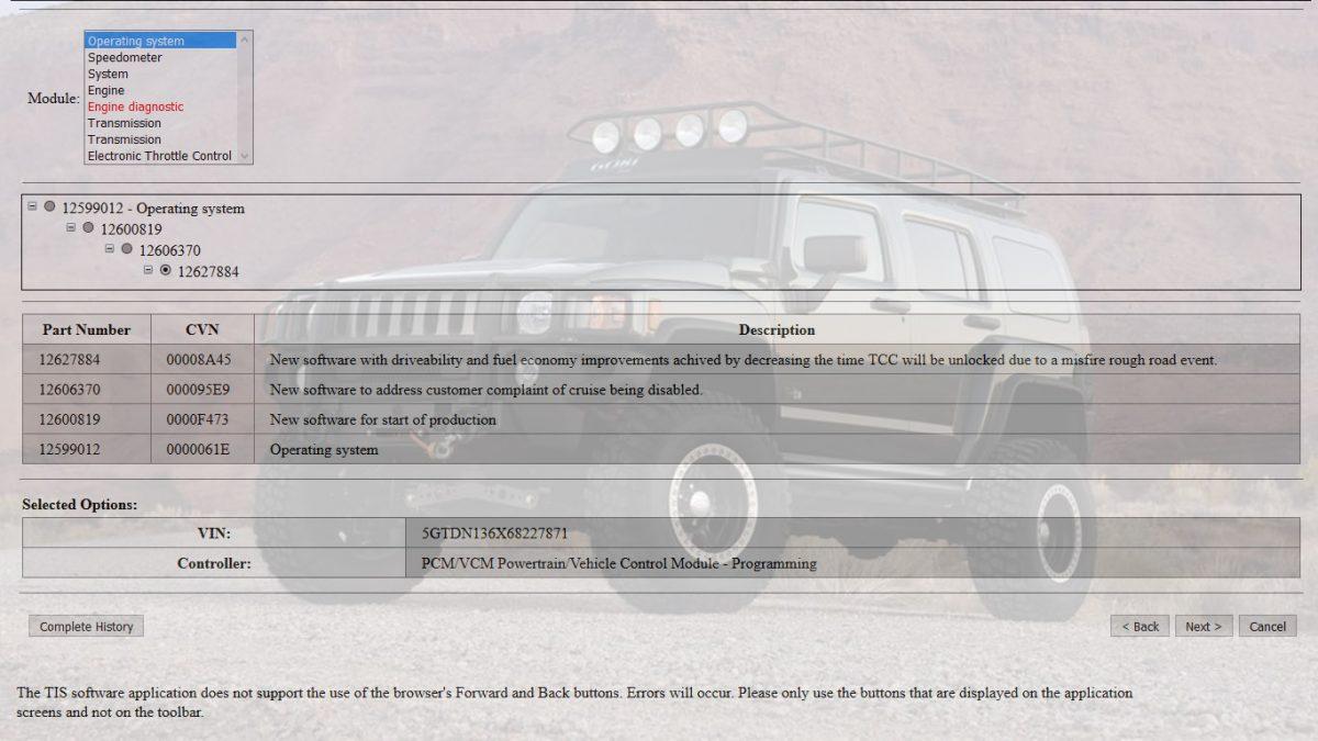 H3 Hummer 12627884 GM PCM Flash Update